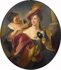 jeune femme s'habillant pour un bal masqué by jacques-françois courtin