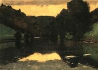 soir sur le doubs (riviere) pres de soubais (suise) by hans sandreuter