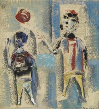 two children with a red balloon by polia pillin