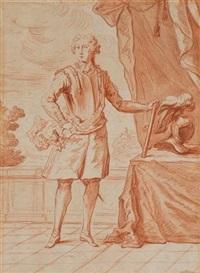 portrait de militaire en armure tenant un bâton de maréchal posé sur une table, sur laquelle est un casque by louis autreau