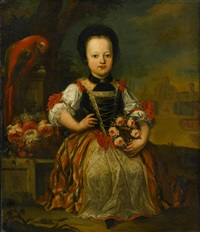 portrait of a girl holding a floral garland; portrait of a seated boy and his dog (pair) by austrian school (18)