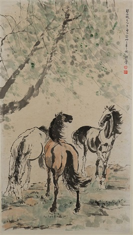 group of horses under willow tree by xu beihong