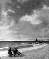 cavalier sud-américains au bord de la mer by ignacio merino