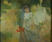 jeune femme à l'iris by luong xuan nhi