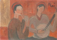les deux musiciennes by bui xuan phai