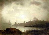 a nocturnal river landscape by sophus jacobsen