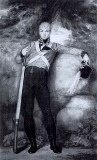 portrait of a private of the prince of wales' volunteers, full length, standing, with a rifle, his left arm resting by john samuel agar