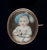 sir william henry pennyman 7th bart (1764-1852), as a baby, wearing white dress with lace trim and blue ribbon waistband, white bonnet and blue hat trimmed with white ostrich feather by sophia smith