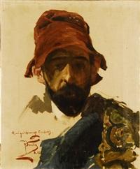 retrato de hombre vestido con chaquetilla de torero by josé marie de la bastida y fernandez