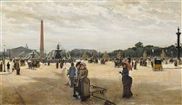 a busy morning, place de la concorde by giovanni lessi
