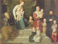 the virgin and child enthroned with saint joseph, and a donor family with six children by antonio badile
