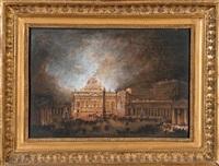 illumination de la basilique saint-pierre à rome by antoine peyre