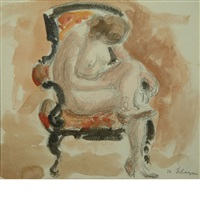female nude in a chair by henri lebasque