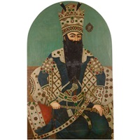 a portrait of fath'ali shah qajar, seated against a jewelled bolster on a pearl edged rug by 'ali mihr