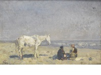 figures and a horse on the beach by beppe ciardi