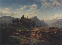 château en ruines près d'un torrent et d'un lac by pierre alexandre jeanniot