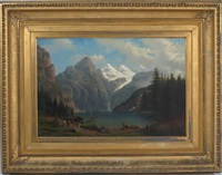 landscape with people by mountain lake by henry lewis