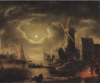 a moon-lit river landscape with figures cooking on a fire on the outskirts of a town with a windmill, other figures and sailing vessels nearby by adam de colonia