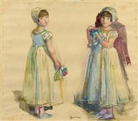 deux filles d'honneur tenant un bouquet by lucien simon