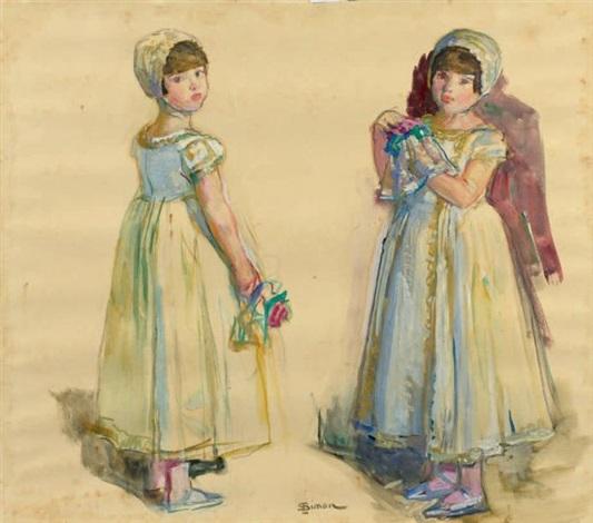deux filles dhonneur tenant un bouquet by lucien simon