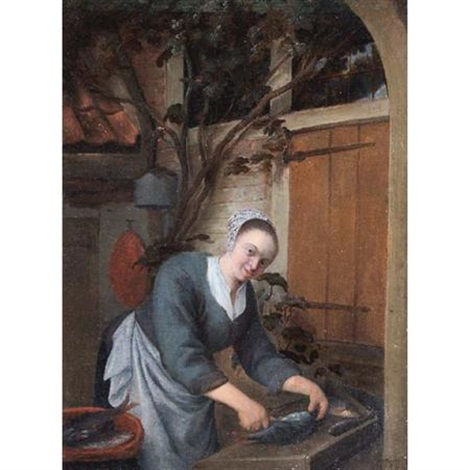 a young maid cleaning fish after adriaen van ostade by gerrit zegelaar