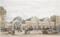 a perspective view of the flower market, covent garden by william rogers