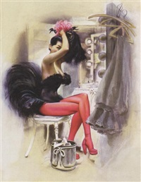 seated showgirl in dressing room by joseph de mers