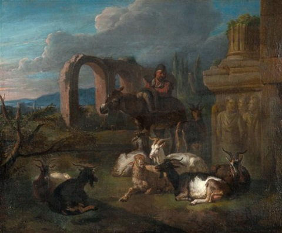 un berger et son troupeau près de ruines antiques by pieter van bloemen