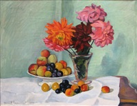 nature morte aux fruits et aux fleurs by franck innocent