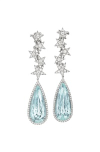 aquamarine and diamond ear pendants (pair) by margherita burgener