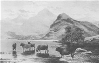 highland cattle by a loch by r. watson