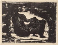black reclining figure i (c.378) by henry moore