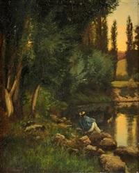paysage animé à l'étang by alexandre de gassowski