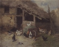 chickens by a barn by g. abrassart