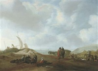 a dune landscape with fisherfolk resting, travellers with a horse and a carriage and elegant figures beyond by jacob esselens