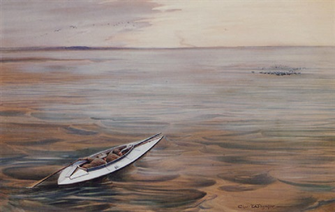 sculling to fowl in a calm sea by charles whymper