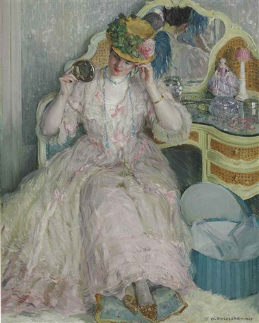 lady trying on a hat by frederick carl frieseke
