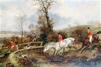 huntsmen approaching a stream by dean wolstenholme the younger