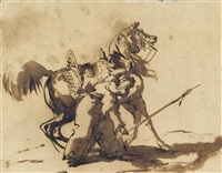 a mameluke retrieving his lance (recto); a sibyl displaying the glories of rome to a group of warriors (?) (verso) by théodore géricault