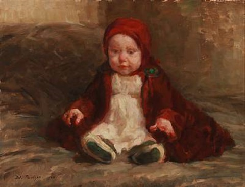 a little girl in a red coat by julius paulsen