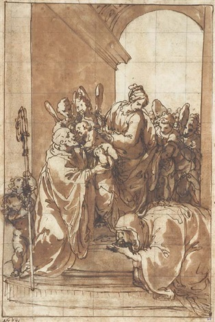the madonna and child with angels saint benedict and saint scolastica under an arch by giulio benso