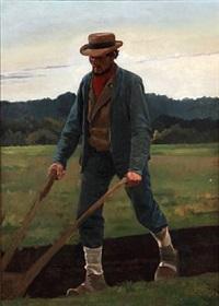 a farmer plows by frants peter didrik henningsen