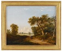 river scene (+ 3 others; 4 works) by ambrose andrews