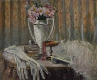 still life with gloves and feather fan on marble top table by bessie ellen davidson