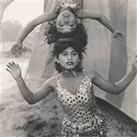 acrobats rehearsing their act at the great golden circus, ahmedabad, india (+2 others; 3 works) by mary ellen mark