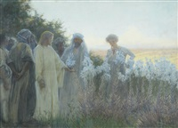 christ with his disciples in a garden of flowers by alfred edward emslie