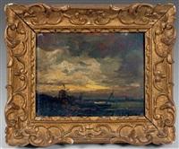 paysage au moulin, crépuscule by jules dupré