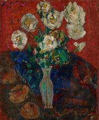 stillleben mit weissen rosen by adolf herbst