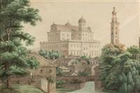das augsburger rathaus und der perlachturm by jean-baptiste metivier