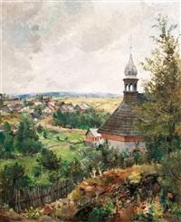dravce na slovensku-letní krajina s kostelíkem by oldrich blazicek